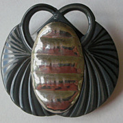 Auguste Bonaz Carved Black Galalith & Silver Winged Scarab Pin