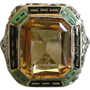 Superb Deco Ring Enamel Border Faceted Citrine Center, set in 14K Yellow Gold Filigree