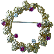Unique 14K Yellow Gold Circle Pin Surface design with 6 Rubies and 2 Diamonds