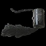 RARE Deco Vanity Purse Black Celluloid Silk Tassel, Rhinestone Swans, Enamel