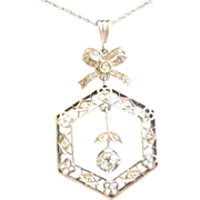 Edwardian Pendent Necklace 14K White Gold, Bow over Open Pendent Diamond Dangle Center Diamond