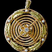 Elegant Victorian Era Pendent Large Circle, Diamond Center, Seed Pearls, 14K Yellow Gold
