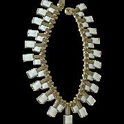 Sensational Volmer Bahner Denmark Collar Necklace White Guilloche Enamel on Sterling Silver ..