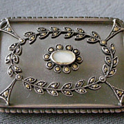 REDUCED Elegant Deco Pin Brooch Frosted Crystal Camphor Glass and Sterling Silver with ...