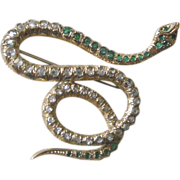REDUCED PRICE REDUCED 18K Yellow Gold Snake Pin with Diamonds and Emeralds Early 1900s