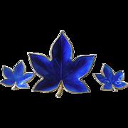REDUCED Bjorklund Denmark Pin & Earrings Set Royal Blue Enamel + Sterling Silver Leaf PRICE ..