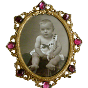 SOLD Superb Deco Picture Frame Gilt Oval with Faux Rubies + Amethysts