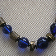 Art Deco Cobalt Blue Glass Bead Necklace Engraved Gold Tone Bead  Accents