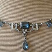 Vintage Necklace Sterling Silver, Faux Cornflower Blue Sapphires Dangle, Marcasites