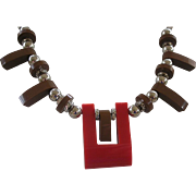 REDUCED REDUCED PRICE Art Deco Red & Brown Galalith & Chrome Necklace by Jacob Bengal Germany
