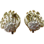 Bold Mid-Century Vintage Earrings Gold Tone & Rhinestones Clip On by Lisner