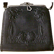RARE BLACK Arts & Crafts Embossed Turn Lock Leather Bag Purse Handbag