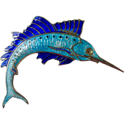 Dynamite Vintage Pin Blue Enamel Swordfish on Silver Tone Great Detail!