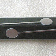 "Deco Black Bakelite Pin with Chrome ""Lollipop"" Insets BOOK PIECE"