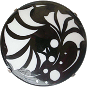 Statement Pin!  Black and White Porcelain Vintage Pin Large, Round