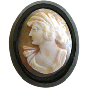 REDUCED Victorian Brooch Pin Oval Shell Cameo  set in Polished Jet PRICE REDUCED