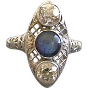 Magnificent Edwardian Diamonds & Sapphire Ring 18K White Gold Filigree with Professional ...