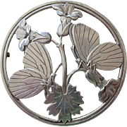 Fine Vintage Georg Jensen Denmark Pin Large Round with Flowers and Butterflies