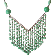 Deco Era Necklace Green Glass Beads with Dangles Czechoslovakia