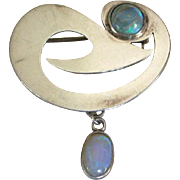 Fascinating Modernist Vintage Pin Silver and Opals, Dangle