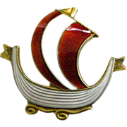 Askel Holmsen Norway Pin Red & White Enamel on Sterling Silver Sailing Ship