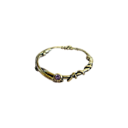 SOLD Fine Silver Bangle Bracelet  and Simulated Amethyst  .999 Custom Order