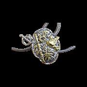 SOLD Studio Art PMC Silver & 22kt Applique Pendant / Brooch Combination - Hummingbird, Fuchsia