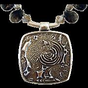 SOLD Swimming Japanese Carp - Pendant Necklace - Black Reticulated Quartz Briolettes