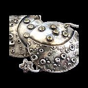 SOLD Fine Silver Dome Earrings - Moon & Stars
