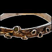 SOLD Fine Silver Palm Leaf and Aventurine Bangle Bracelet - Artisan - Custom Order