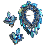 SOLD Blue Lagoon Vintage Sarah Coventry Pin Brooch & Earring Set