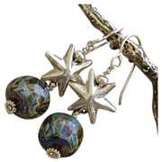 Lampwork Boro Art Glass Bead SS Star Earrings