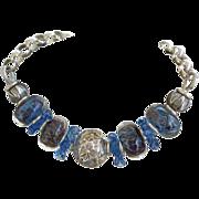 SOLD Sterling Silver, Blue Lampwork Beads, Ruffles bracket