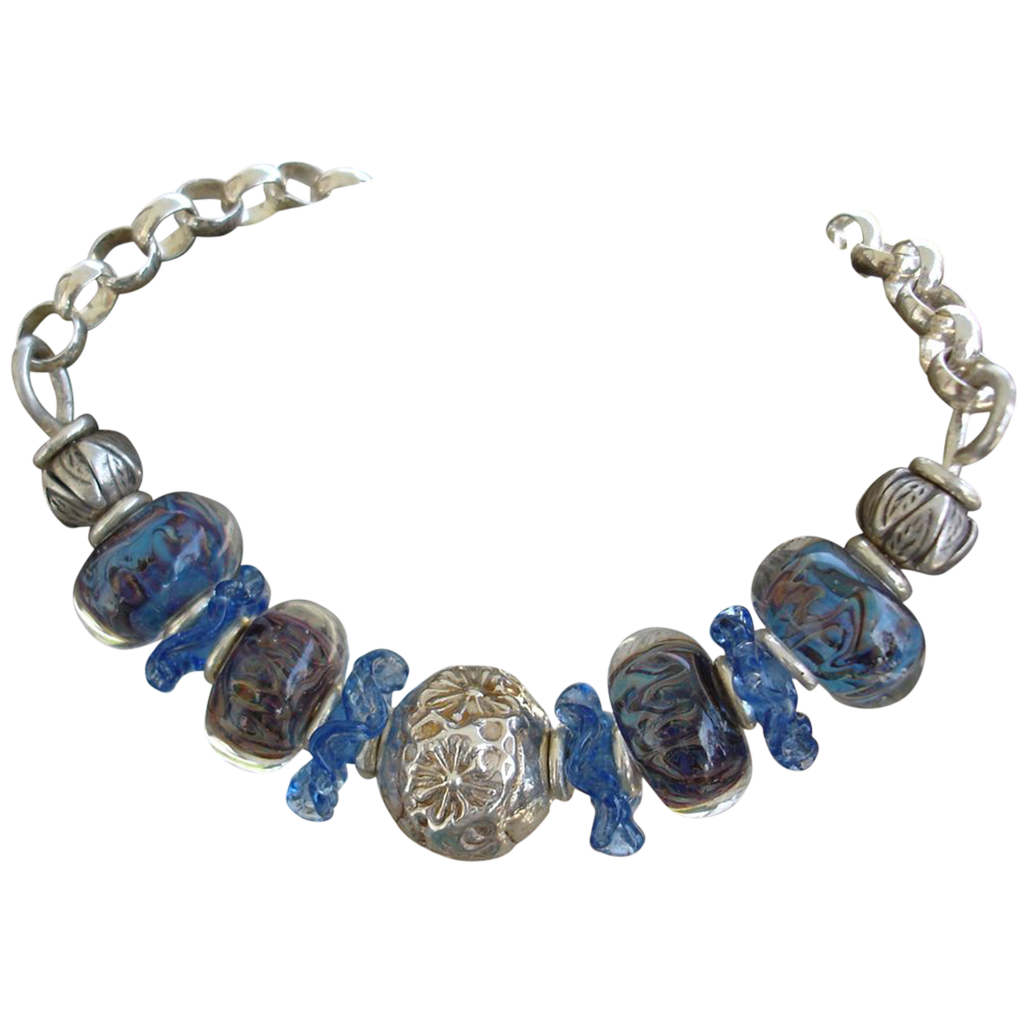 Sterling Silver, Blue Lampwork Beads, Ruffles bracket
