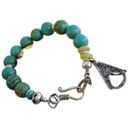 SOLD Turquoise Beaded Bracelet with Handcrafted Fine Silver Charm