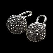 SOLD Fine Silver Sea Urchin Earrings - Handcrafted