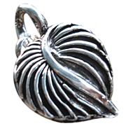 SOLD Handcrafted - Fine Silver -  Leaf Heart Pendant - Artisan - 1 piece