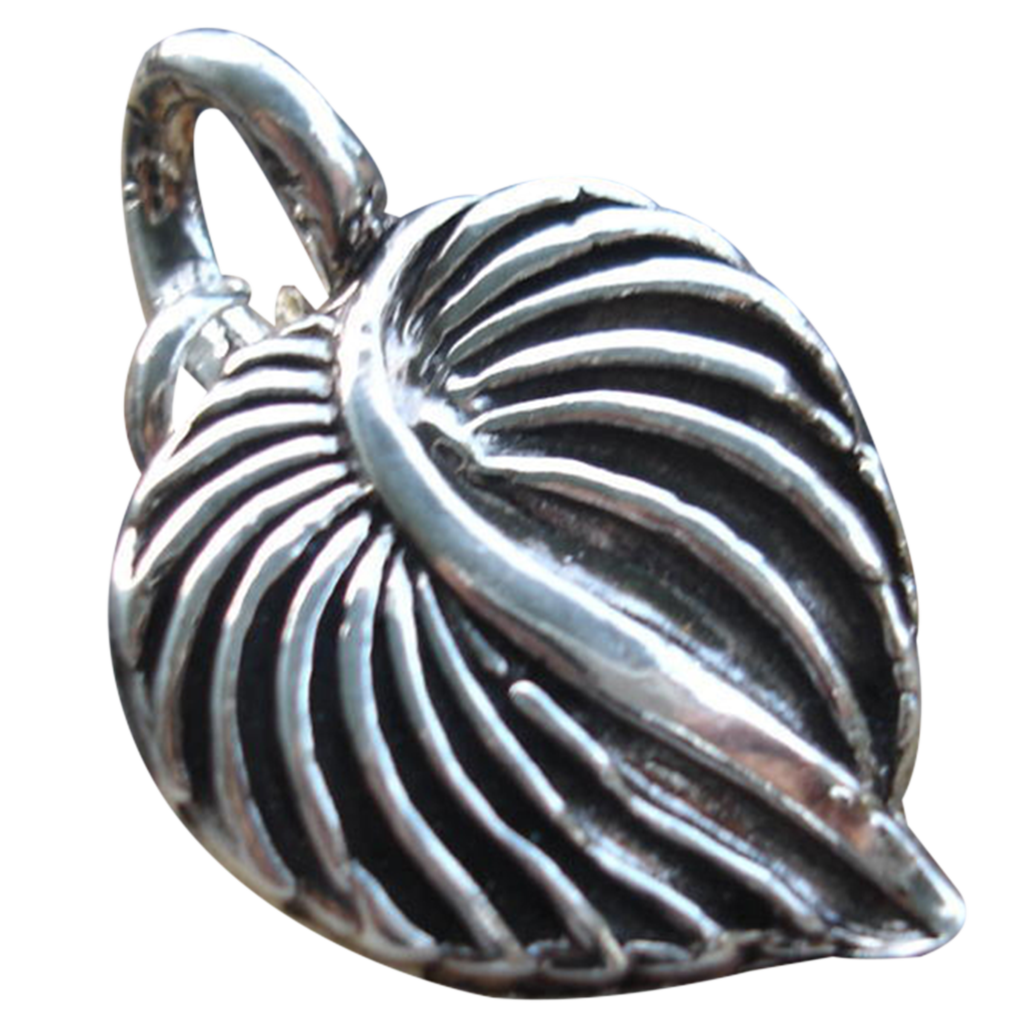 Handcrafted - Fine Silver -  Leaf Heart Pendant - Artisan - 1 piece