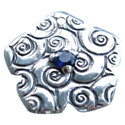 SOLD Handcrafted - Fine Silver - Swirl Stamped Pendant or Charm  - Artisan - 1 piece