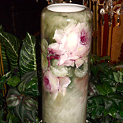 Austria/Limoges Tall Vase with Bischoff Inspired Pink and Yellow Roses
