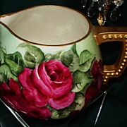 Belleek CAC Red Rose Filled Cider Pitcher Signed D.King