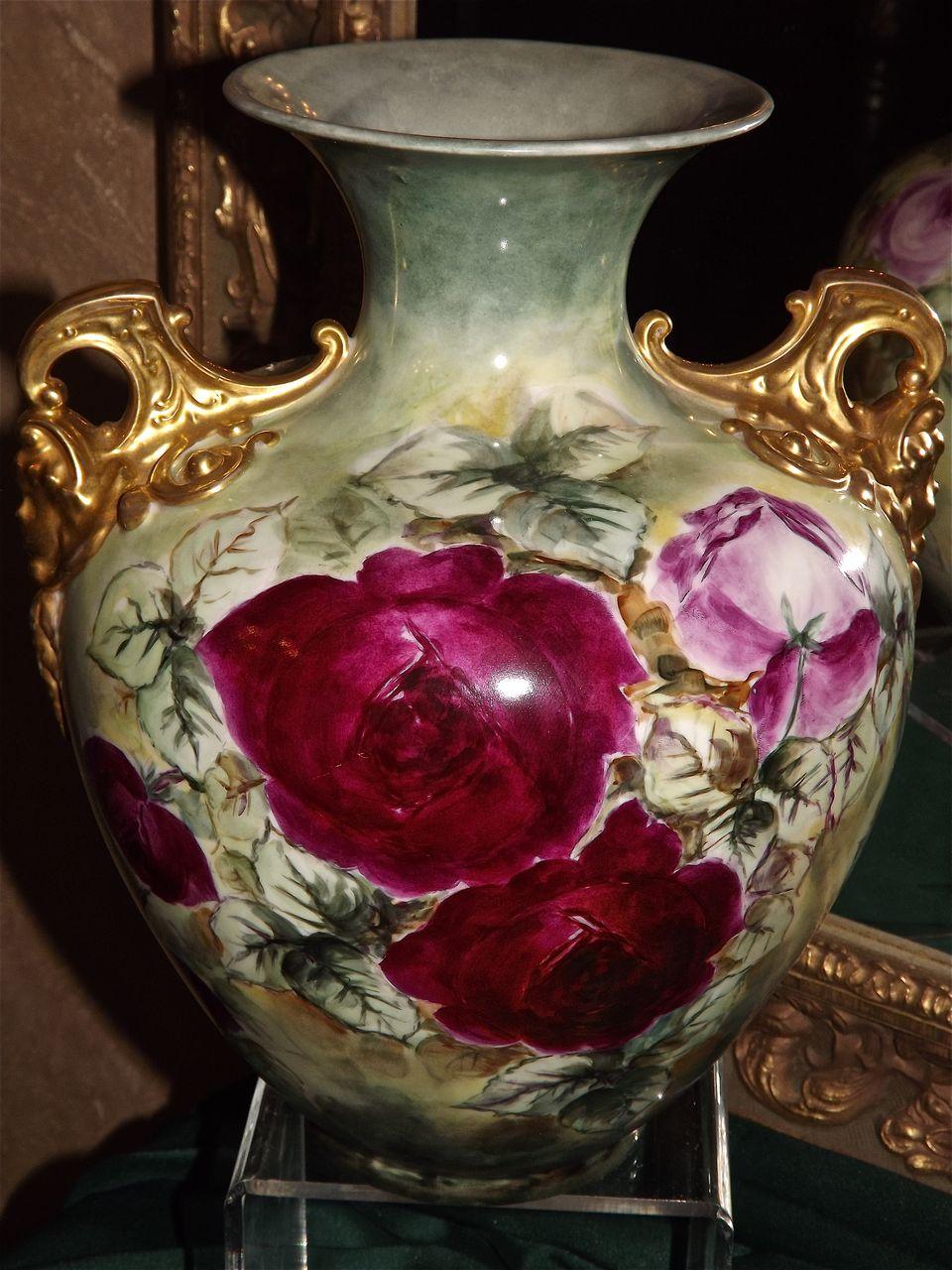 Belleek Rare Gold Cherub Handled Vase With Gorgeous Red