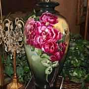 Belleek Huge Artist Signed Vase with Exquisite Red Roses and Deep Intense Colors