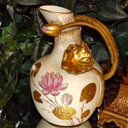 Ott & Brewer Rare Belleek Pitcher with Lotus Leaves and Branch Handle