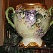 Limoges Amazing Rare Mold Jardiniere/Planter/Vase Covered in Purple and White Lilacs
