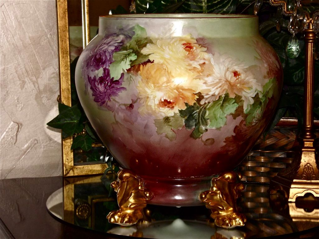 Limoges Large Jardiniere/Planter/Vase  with Huge Pink/Purple/Raspberry/Yellow Frilly Roses/Peonies and Matching Pawed Plinth