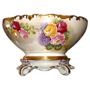 Limoges Lovely Artist Signed Rose and Lilac Center Bowl with Plinth/Base