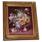 SALE Limoges Magnificent Huge Porcelain Plaque Yellow and Pink Rose Still Life Signed French .