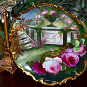 SOLD Limoges Gorgeous Charger With Garden Scene of Red & Pink Roses Signed Master French Artis
