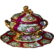SOLD Limoges Huge Rose Filled Tureen with Gold Gourd Finial and Matching Platter